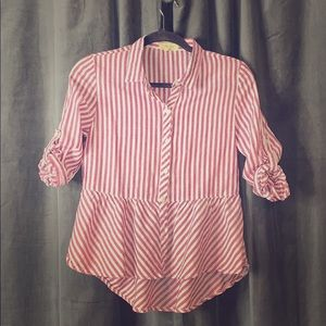 Tops - Stripped shirt with flare bottom